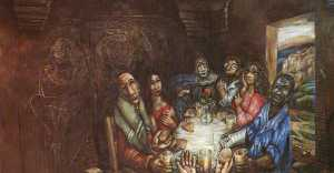 """Jesus eating with """"sinners"""" from Jesus' perspective, beautiful."""